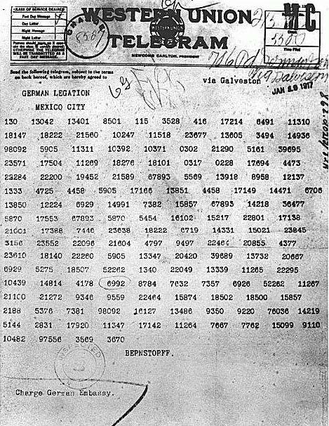 1917 Télégramme de Zimmerman