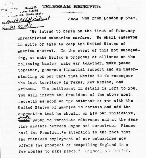 Télégramme de Zimmerman de 1917
